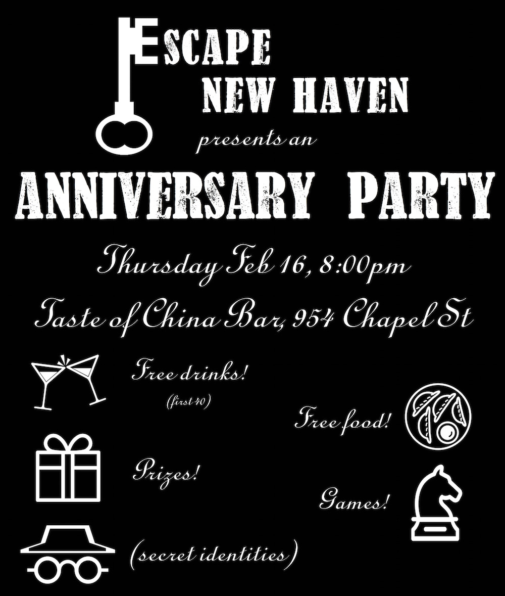 2nd Anniversary Bash — Thursday 2/16, 8-11 PM, at New Haven's Taste of China